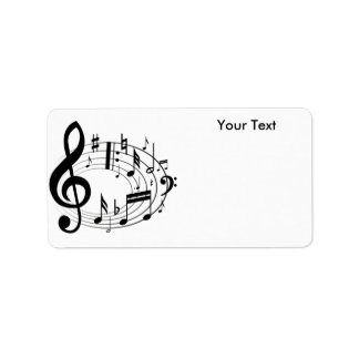 White & Black Music Scale Music Notes Address Label