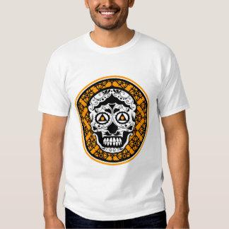 White Black Orange sugar skull Damask Tee Shirts