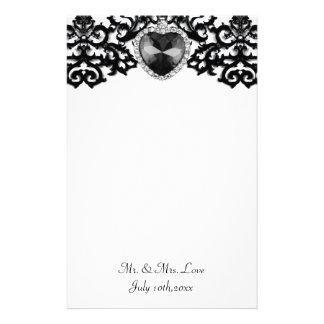 White & Black Ornate Heart Pendant Wedding Customized Stationery
