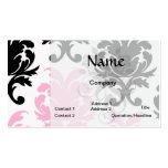 white black pink lovely bold damask business card