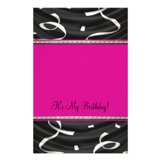White Black Pink Party Streamers Persoanlized Personalised Stationery