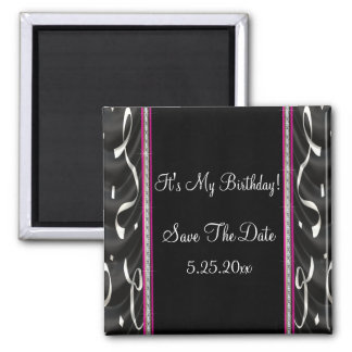 White Black Pink Party Streamers Save Date Magnet