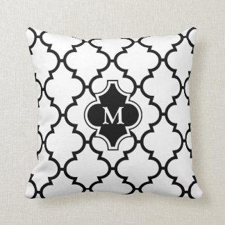 White Black Quatrefoil Pattern Monogrammed Pillow
