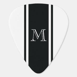 White & Black Racer Stripe Monogram Guitar Pick