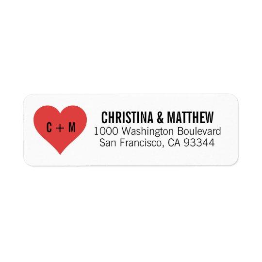 White Black RED Heart Wedding Return Address Return Address Label