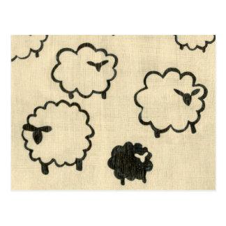 White & Black Sheep on Cream Background Postcard