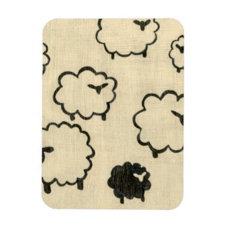 White & Black Sheep on Cream Background Magnets