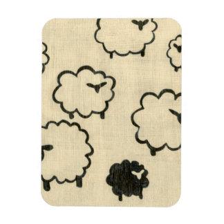 White & Black Sheep on Cream Background Rectangular Photo Magnet