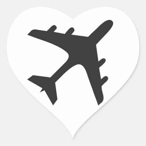 White black simple airplane design heart sticker