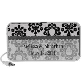 white black small flower damask wedding keepsake laptop speaker