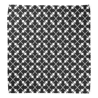 White Black Square Lines and Blocks Pattern Bandana