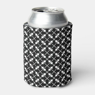 White Black Square Lines and Blocks Pattern Can Cooler