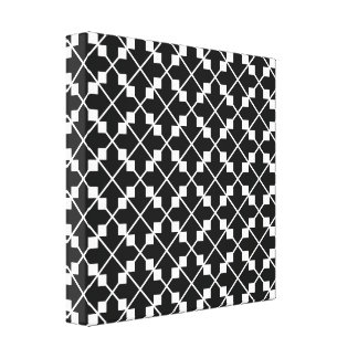 White Black Square Lines and Blocks Pattern Canvas Print