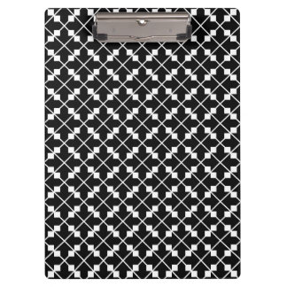 White Black Square Lines and Blocks Pattern Clipboard
