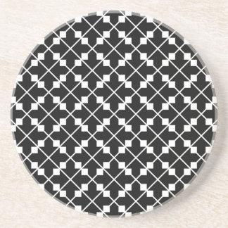 White Black Square Lines and Blocks Pattern Coaster