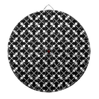 White Black Square Lines and Blocks Pattern Dartboard