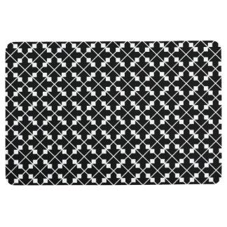 White Black Square Lines and Blocks Pattern Floor Mat