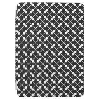 White Black Square Lines and Blocks Pattern iPad Air Cover