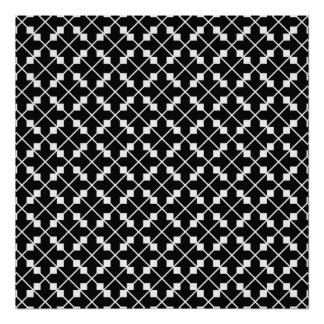 White Black Square Lines and Blocks Pattern Poster