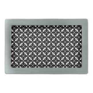 White Black Square Lines and Blocks Pattern Rectangular Belt Buckle