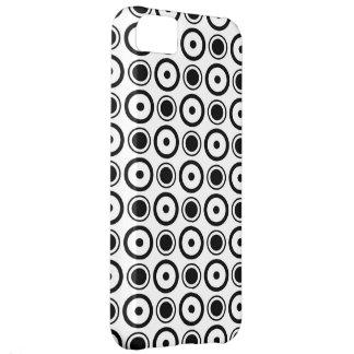 White Black stylish polka dots white background iPhone 5C Case