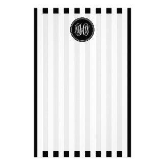 White Black Vert Stripe 6x Bk Vine Script Monogram Custom Stationery