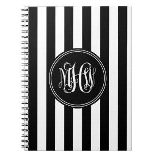 White Black Vert Stripe 6x Bk Vine Script Monogram Spiral Note Books