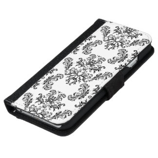White Black vintage damask pattern iPhone 6 wallet