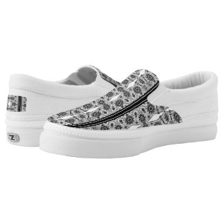 White & Black Vintage Lace Pattern Printed Shoes
