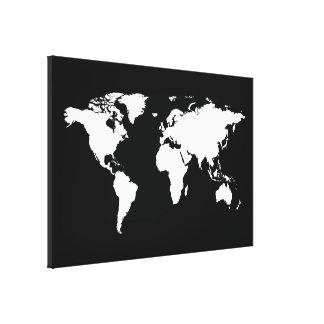 white black world map canvas prints