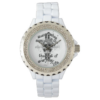 White Bling Music Skull Watch. Wristwatches
