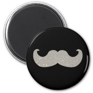 White Bling Mustache (Faux Glitter Graphic) 6 Cm Round Magnet
