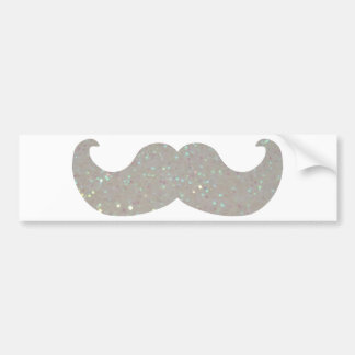 White Bling Mustache (Faux Glitter Graphic) Bumper Sticker