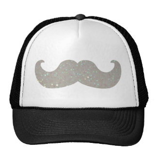 White Bling Mustache (Faux Glitter Graphic) Cap