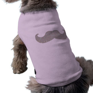 White Bling Mustache (Faux Glitter Graphic) Dog Clothing