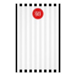 White Blk Vert Stripe 6x Red Vine Script Monogram Custom Stationery