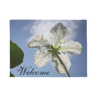 White Blossom and Blue Sky door mat