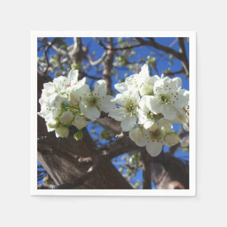 White Blossom Clusters Spring Flowering Pear Tree Paper Napkin