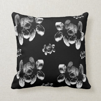 White Blossoms On Black, Cushion
