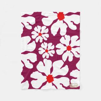 White Blossoms Purple Fleece Blanket