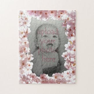 White Blossoms Puzzle Personalized Photo Puzzle