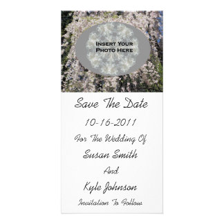 White Blossoms Wedding Save The Date Photo Card
