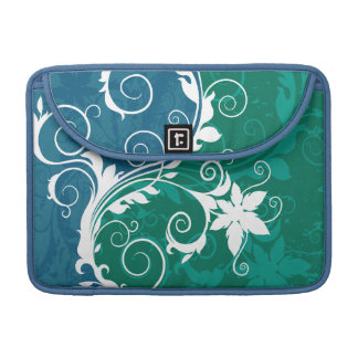 White Blue and Green Floral Grunge Sleeves For MacBooks