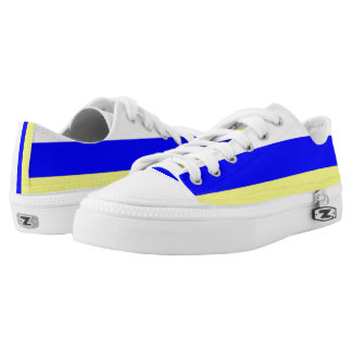 White Blue and Yellow Horizontally-Striped Lo-Top Printed Shoes