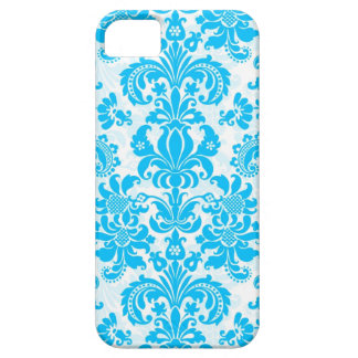 White Blue Floral Damasks Pattern iPhone 5 Covers