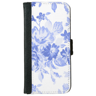 White & Blue Floral iPhone 6/6s Wallet Case