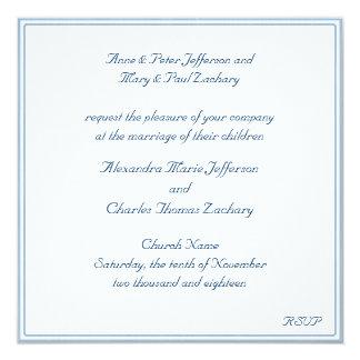White/Blue Framed Wedding Invitation