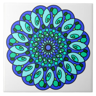 White Blue Green Star Geometric Tile