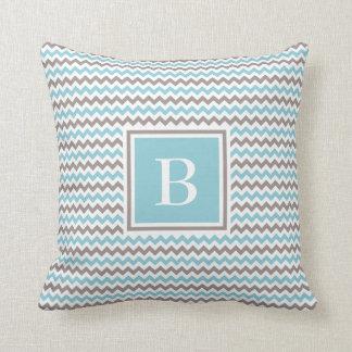 White Blue Grey Chevron Monogram Pillow