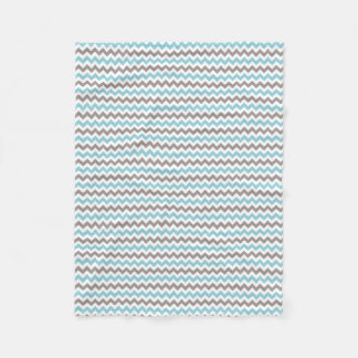 White, Blue, Grey Chevron Small Fleece Blanket